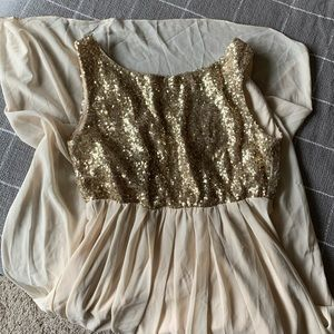 Gold Sequin High-Low Formal Dress